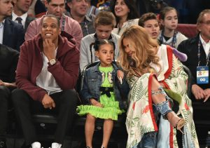 NEW ORLEANS, LA - FEBRUARY 19:  Jay Z, Blue Ivy Carter, Beyoncé Knowles attend the 66th NBA All-Star Game at Smoothie King Center on February 19, 2017 in New Orleans, Louisiana.  (Photo by Theo Wargo/Getty Images)