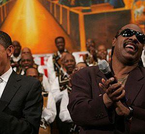 Former President Barack Obama and Stevie Wonder