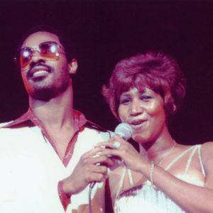 Aretha Franklin and Stevie Wonder. 1977.